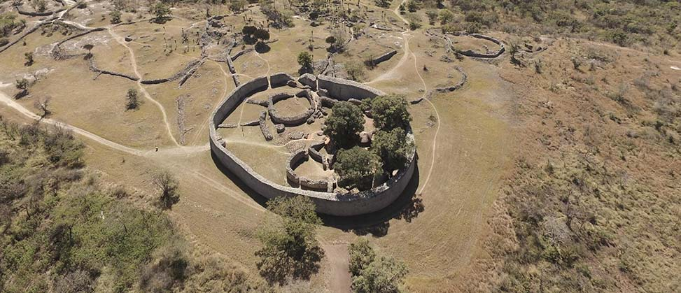 areal image of circle-shaped ruins