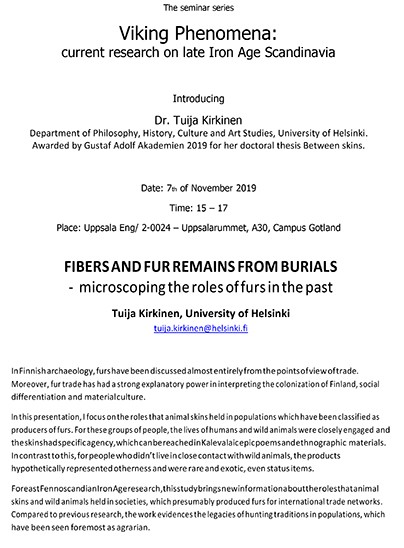 Viking Phenomena seminarium 7 nov